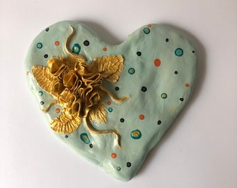 GOLD FLOWERS HEART Wall decor and gold  Love exclusive original heart, casual unique style Rustic Style Hippy Chic flowers