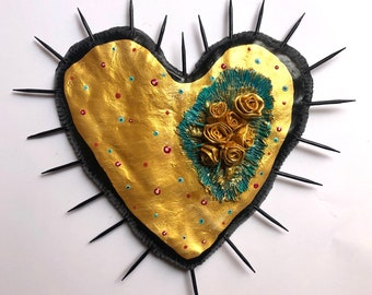 GOLD BLACK HEART Wall decor and gold  Love exclusive original heart, casual unique style Rustic Style Hippy Chic flowers