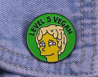 Level 5 Vegan Enamel Pin - The Simpsons Pin Badge Metal Veganism Lisa Simpson