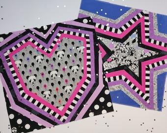 Rainbow Pattern Bundle - Rainbow Twinkle and Love blocks - 2 Foundation Paper Piecing Patterns