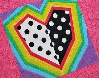 Rainbow Love Block  - 3 sizes of square blocks - Foundation Paper Piecing Pattern