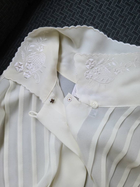 80s vintage ivory cream poet blouse   embroidered… - image 4