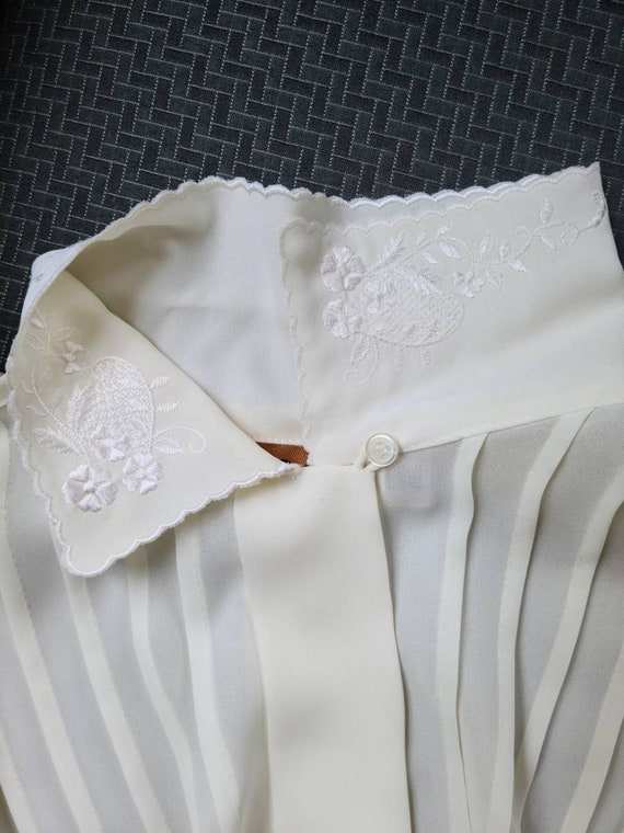 80s vintage ivory cream poet blouse   embroidered… - image 5