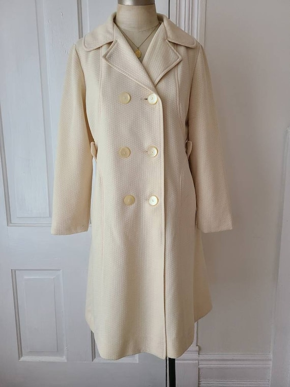 Vintage 70s ivory cream women's winter coat mod ja