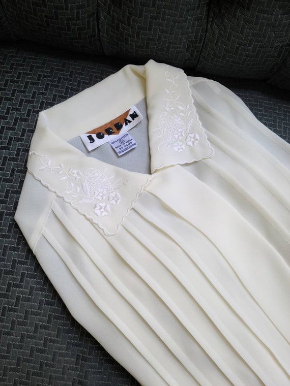 80s vintage ivory cream poet blouse   embroidered… - image 3
