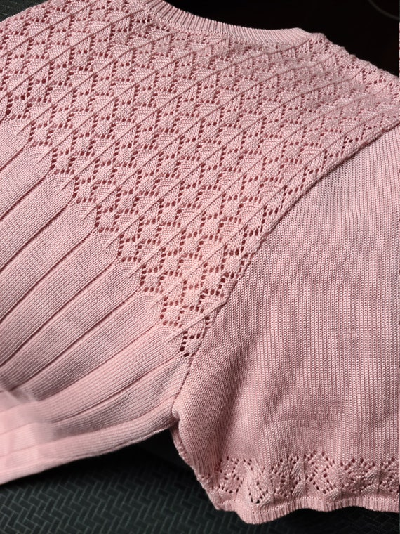 Vintage 90s dusty pink knit top - image 8