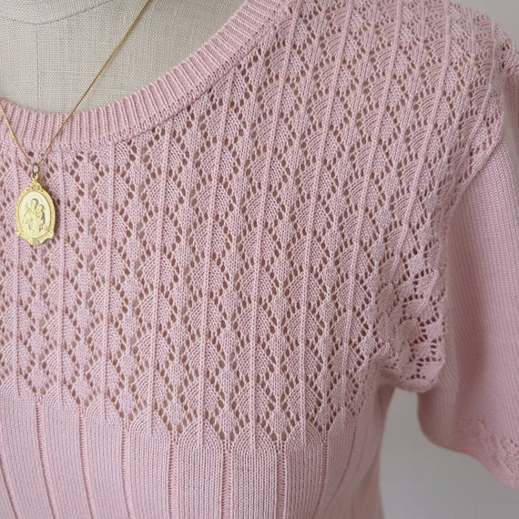 Vintage 90s dusty pink knit top - image 2