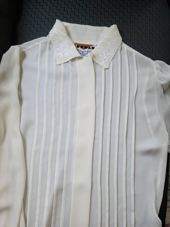 80s vintage ivory cream poet blouse   embroidered… - image 2