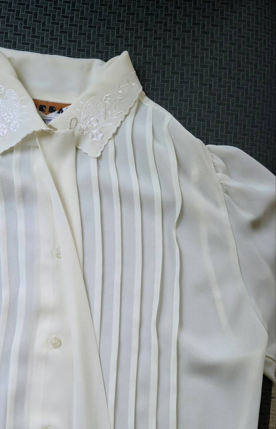 80s vintage ivory cream poet blouse   embroidered… - image 6