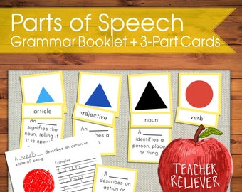 Three-Part Cards: Grammar + teach parts of speech + Montessori nomenclature + remote learning materials + language + read +