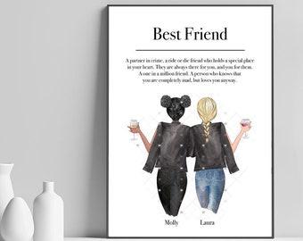 Custom sister print Best friends portrait,DIGITAL FILE Best friends gift Custom roommates prints Custom print Custom best friends print