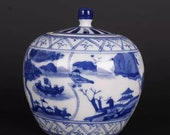 Chinese antique porcelain lidded jar,Qing Dynasty imperial porccelain Kangxi marked blue and white hand painted porcelain tea jar,jug pot
