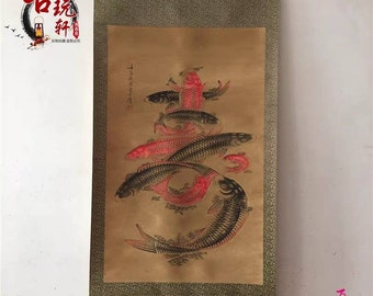Chinese antique painting old traditional Chinese scroll painting,China calligraphy and painting decoration fishes pattern painting