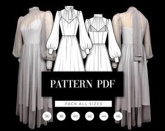 Tulle Midi Dress Pattern   Bishop Sleeve Prom Dress Pattern   Sheer Dress Pattern   Puffy Wedding Dress Digital Pattern   VideoTutorial