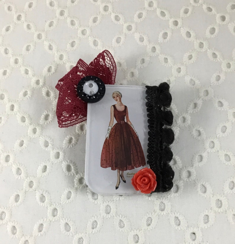 Vintage Simplicity Pattern Button and Repurposed Lace Brooch