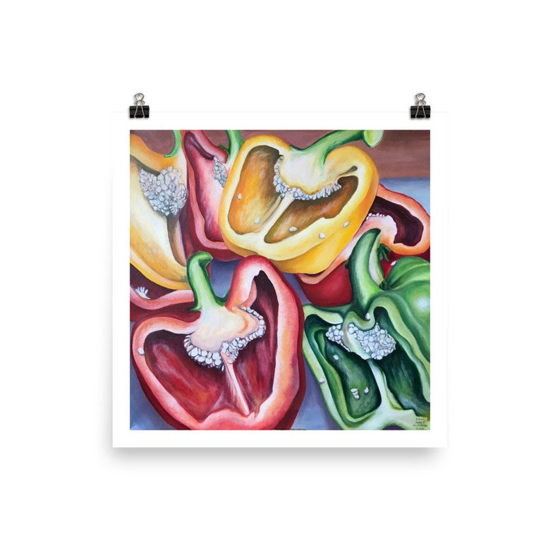 on Paper Colourful Peppers  Kitchen Art  Pepper Print  Still Life Painting Peppers Painting Gicl\u00e9e Quality Print