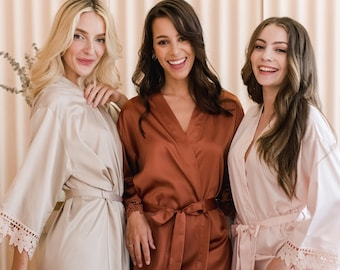 Lace Bridesmaid Robes | Bridal Party Robes | Bridesmaid Gifts | Lace Trim | Bridesmaid Proposal | Bridal Robes