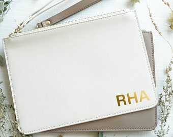 Bridesmaid Clutch | Bridesmaid Proposal Gifts | Personalized Makeup Bag | Maid of Honor Gift | Bachelorette Party Gift | Initial Clutch