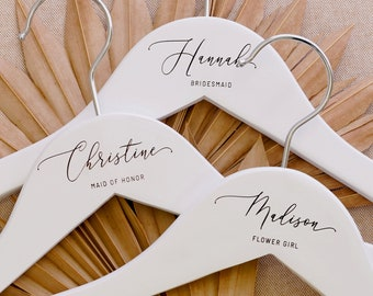 Custom Bridal Hanger | Bridesmaid Hangers | Personalized Wedding Dress Hanger for Her | Name Engraved Customized Wedding Gifts