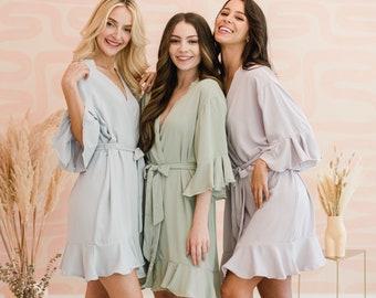 Ruffle Bridesmaids Robes | Bridesmaid Gift | Lace Trim | Bridesmaid Proposal | Wedding Party Gift | Customized Robes