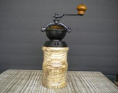 Antique Style Hand Crank Coffee Grinder Made From Antique Copper and Spalted Hackberry Wood. Ceramic Grinding Mechanism.