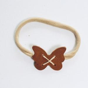 Leather Cat Headband Chestnut with tan headband and tan thread