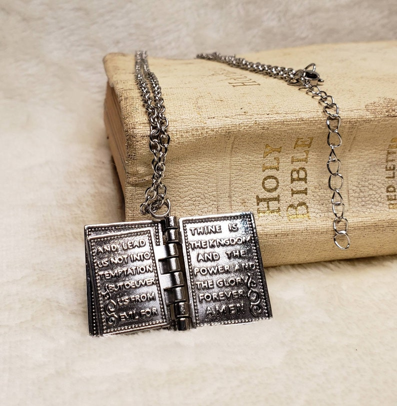 Beautiful Silver Necklace. Pages Turn Beautiful Bible Necklace Lords Prayer Inside