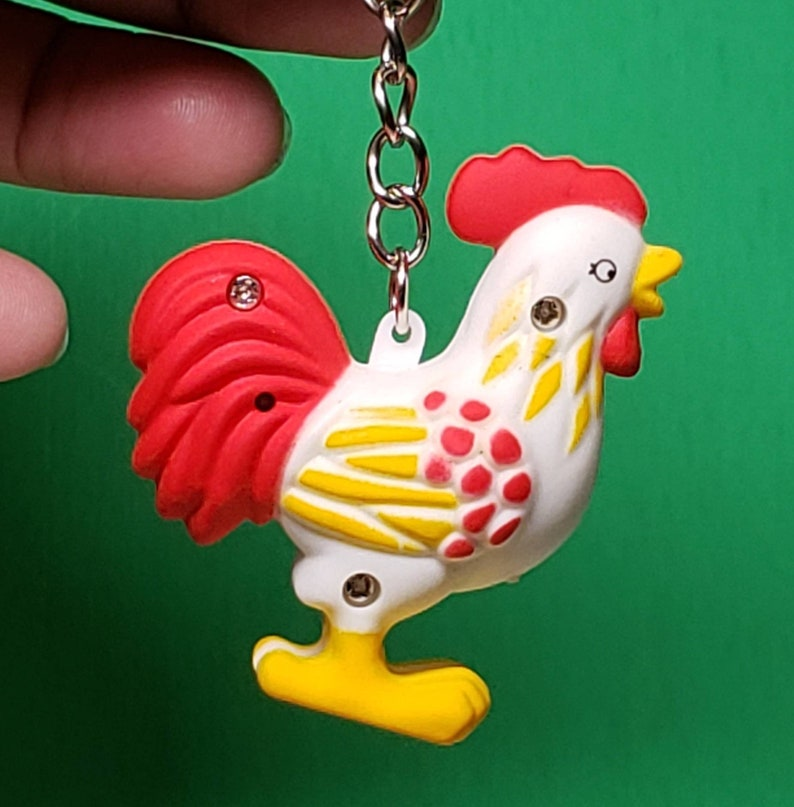 Talking Keychain Rooster Keyring Crazy Chicken Lady Will Love This!! Chicken Light Up