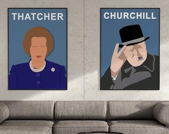 Set of 2 Winston Churchill Margaret Thatcher Posters, British Politician Prints, Political Posters, Wall Art Decor
