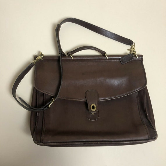 Vintage Coach Brown Leather Briefcase Laptop Bag M