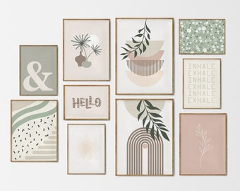 Gallery wall set of 10 prints, boho gallery wall prints, inhale exhale print, neutral print set, sage green wall art, earth tone print