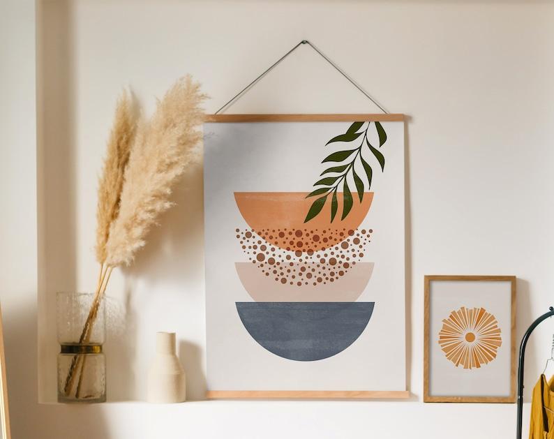 Boho Art Set of 6 Prints Sun Moon Prints Mid Century Modern Landscape Printable Wall Art Modern Art Poster Bundle Minimal Botanical Print