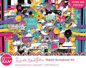 Lunar Rainbow Digital Scrapbook Kit   Patterned & Solid Papers   Elements