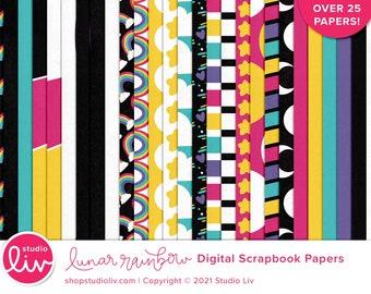 Lunar Rainbow Digital Scrapbook Papers   Patterned & Solids