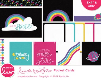 """Lunar Rainbow Pocket Cards   3x4"""", 6x4"""", and 4x6"""" sizes included"""