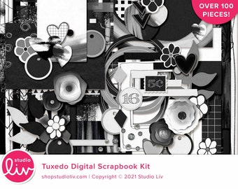 Tuxedo Digital Scrapbook Kit   Patterned & Solid Papers   Elements   Digital Scrapbooking and Hybrid Crafting