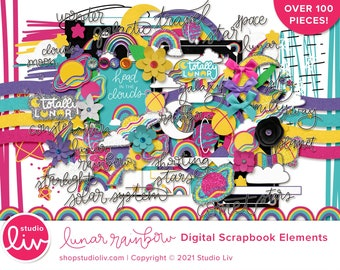 Lunar Rainbow Digital Scrapbook Elements   100+ pieces included