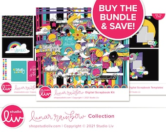 Lunar Rainbow Digital Scrapbook Collection   Patterned & Solid Papers   Elements   Templates in PNG, PSD, and TIF   Pocket Cards
