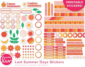 Last Summer Days Printable Stickers   Over 100 stickers!   Planner   Bullet Journal   Hybrid Crafts   Print and Cut Stickers