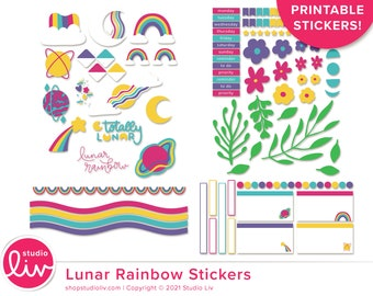 Lunar Rainbow Printable Stickers   Over 100 stickers!   Planner   Bullet Journal   Hybrid Crafts