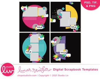 Lunar Rainbow Digital Scrapbook Templates   PSD, TIF, and PNG files included
