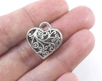 Beautiful Filigree Heart Charms Valentine/'s Day Charms Small Silver Heart Charms Jewelry Supplies 15mm