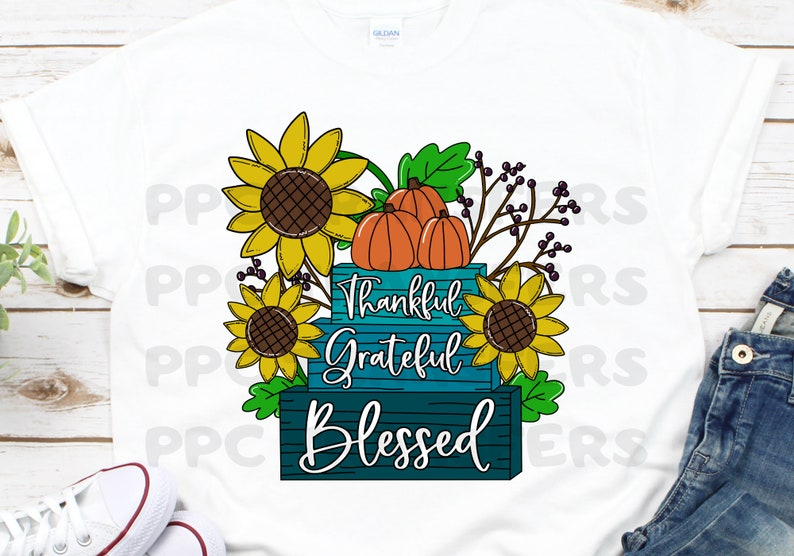 Sublimation Transfer  Thankful Grateful Blessed Transfer  image 0