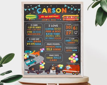 BOYS BABY Board, milestone poster that you edit yourself. Instantly download and print for your party or first birthday. CTP8
