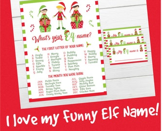 What is your Elf Name game. INSTANT DOWNLOAD  Instant Printable party game. Christmas party game, Xmas Elf game printable, funny elf names