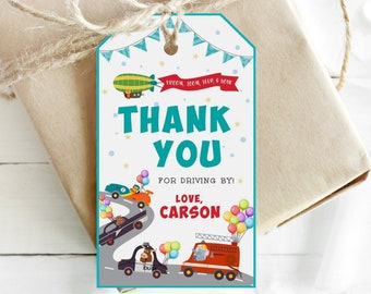 CARS PARTY Thank you cards editable in Corjl CARS Favor cards Party bag tags Editable tags Personalized thank you tags Printable tags - CTP8