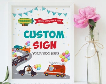 CARS Party Sign you can personalise with your own text for any occasion. You edit, download and print using your phone or tablet. - CTP8