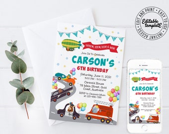 CARS Party Invitation, CARS, TRUCKS Invitation that you can make your own by personalising and printing yourself. cars party - CTP8
