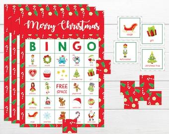 Christmas BINGO Game - Xmas BINGO Christmas printable bingo game, Instant download party game Xmas party bingo games Easy 5 in a row bingo