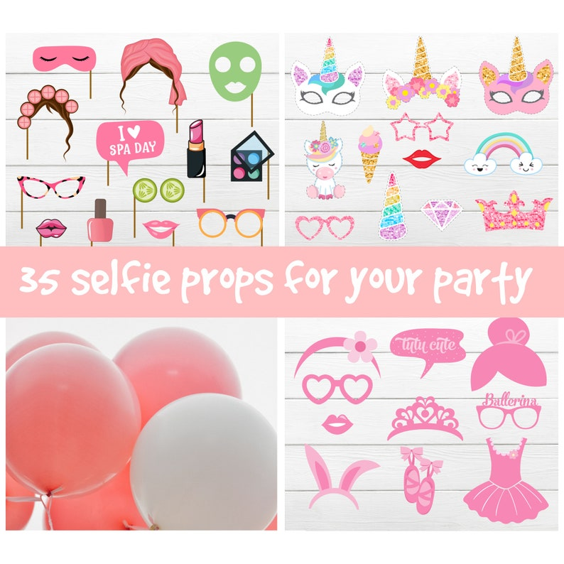 GIRLS PARTY PROPS 35 Girls photo booth props Girls printable props bundle Girls birthday party decor Girls party games Girls selfie props